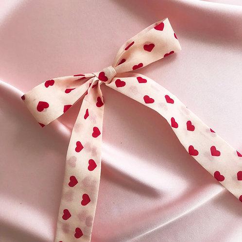 Heart Print Silk Cotton Tess Hair Ribbon
