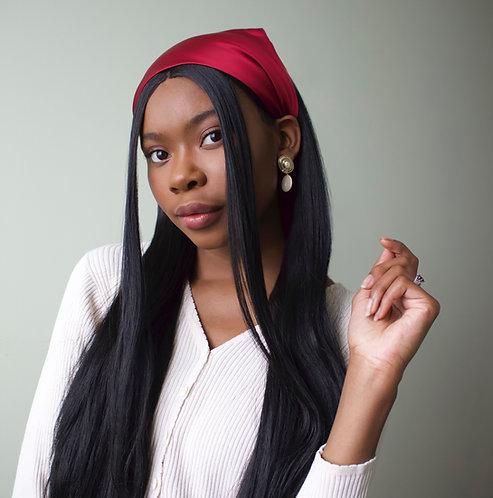 Burgundy Silk Audrey Headscarf