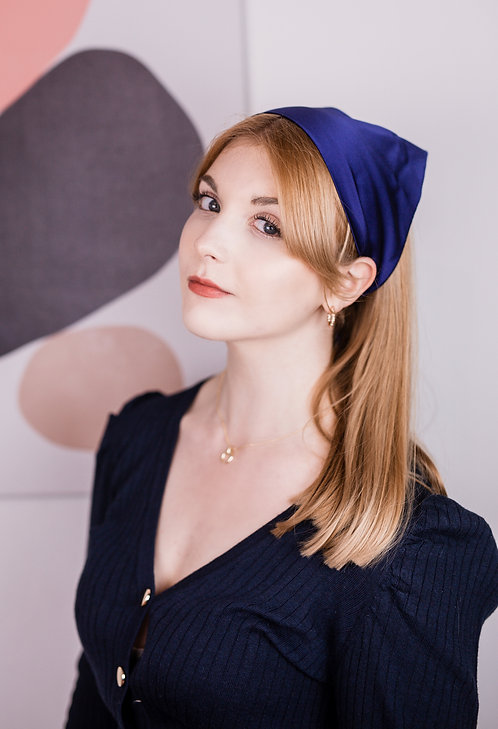 French Navy Silk Audrey Headscarf