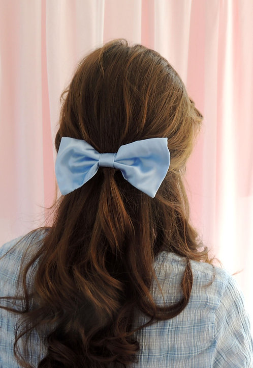 Pale Blue Silk Lily Hair Bow