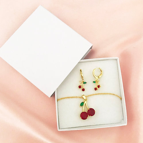 Summer Cherry Necklace and Earring Set