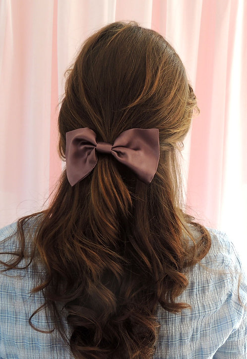 Dusk Purple Silk Lily Hair Bow