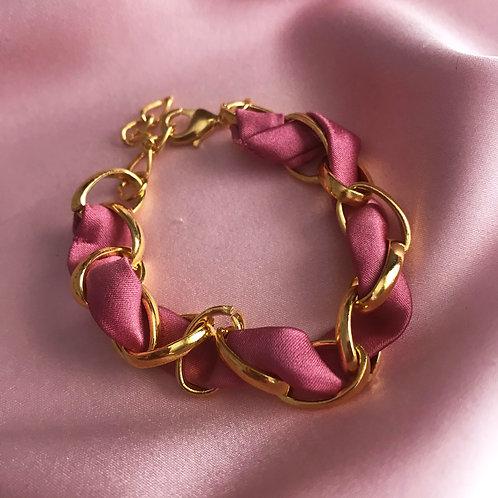 Rose Petal Silk Woven Chain Marguerite Bracelet