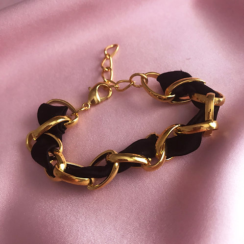 Onyx Silk Woven Chain Marguerite Bracelet