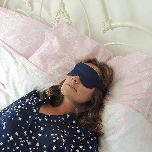 French Navy Silk Beth Eye Mask