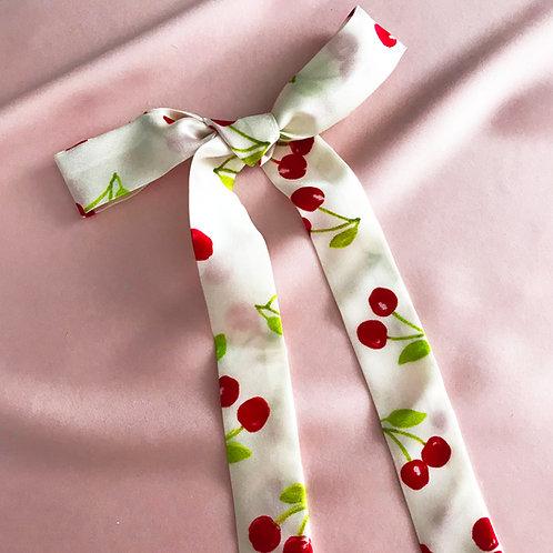 Summer Cherry Print Silk Tess Hair Ribbon