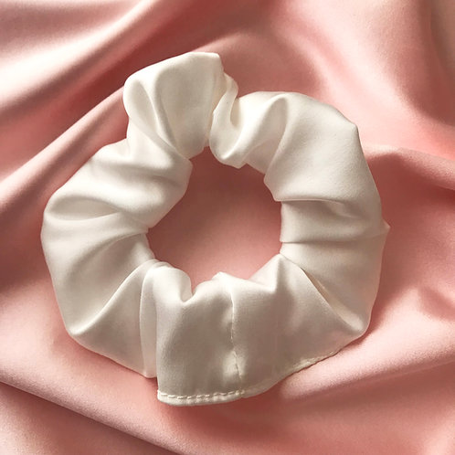 White Vegan Satin Astrid Scrunchie