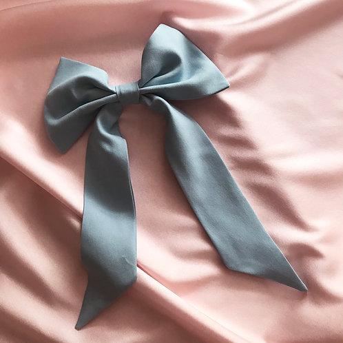 Blue Sandwashed Spun Silk Euphrasie Hair Bow