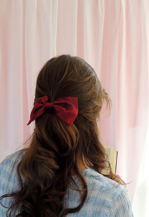 Burgundy Silk Lily Hair Bow