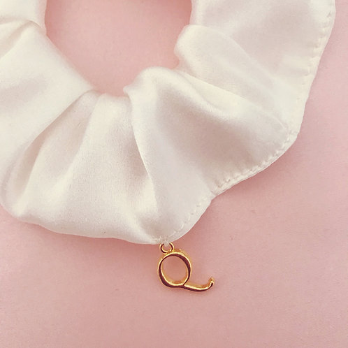 Personalised Silk Scrunchie with Gold Initial Charm
