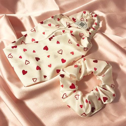 Heart Print Scrunchie and Headband Set