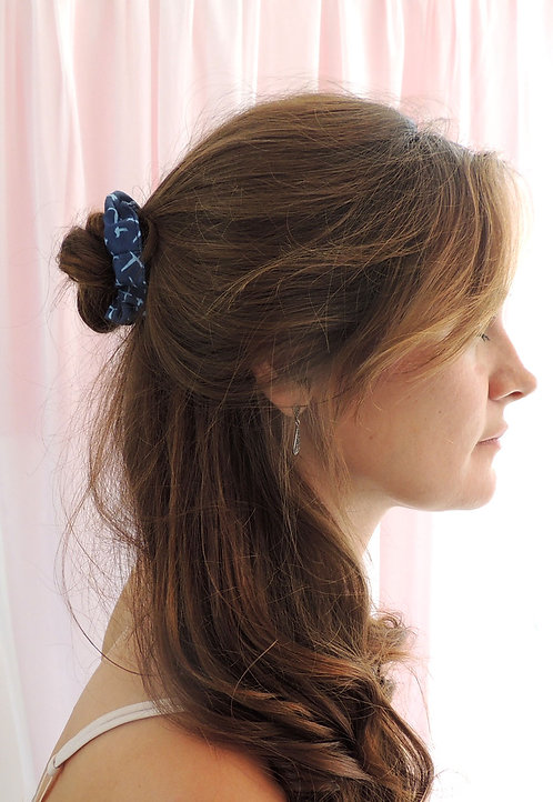 Navy Print Mini Astrid Scrunchie