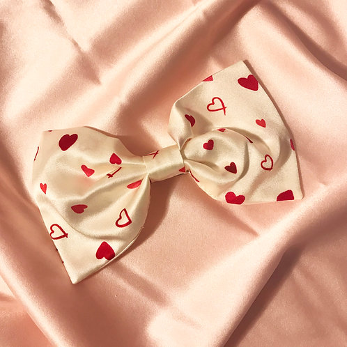 Heart Print Silk Lily Hair Bow