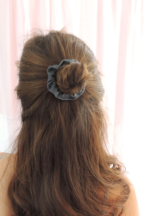 Dark Grey Silk Mini Astrid Scrunchie