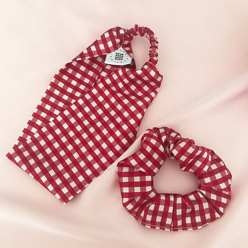 Red Gingham Scrunchie and Headband Set