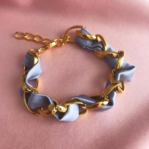Pale Blue Silk Woven Chain Marguerite Bracelet