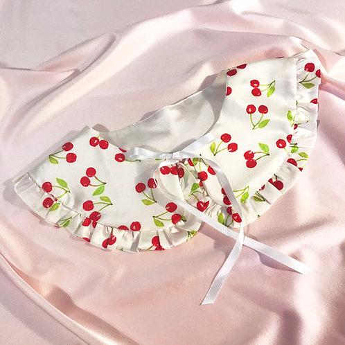 Cherry Print Silk Cassandra Collar
