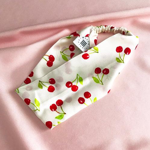 Summer Cherry Print Silk Anya Headband