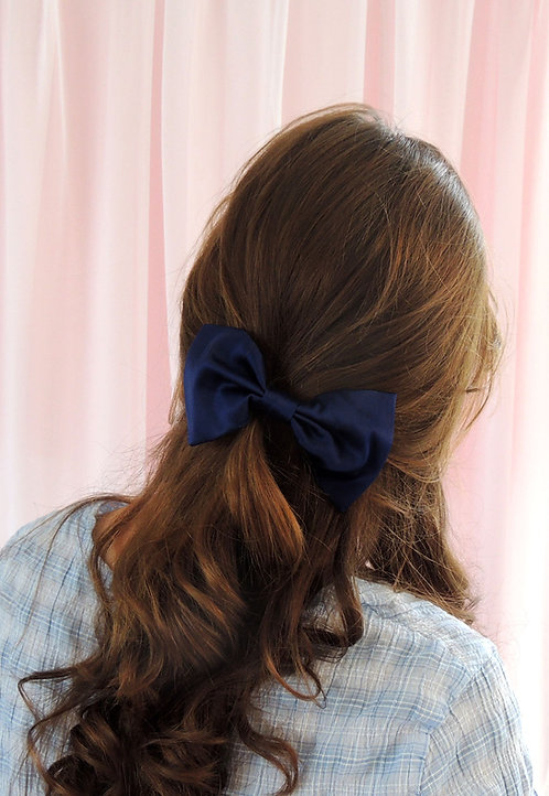 French Navy Silk Lily Hair Bow