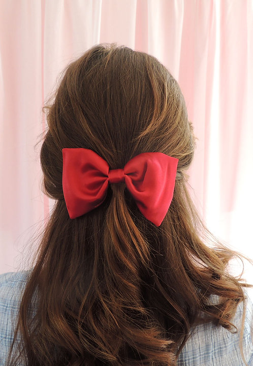 Ruby Silk Lily Hair Bow