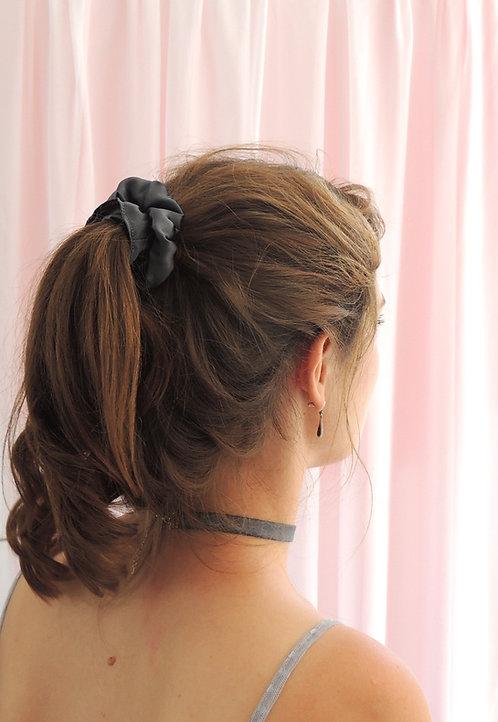 Dark Grey Silk Astrid Scrunchie