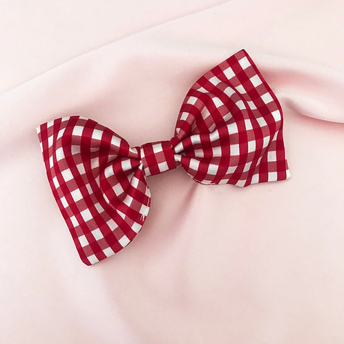 Red Gingham Print Silk Lily Hair Bow