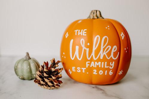 Custom Calligraphy Pumpkin Fall Decor