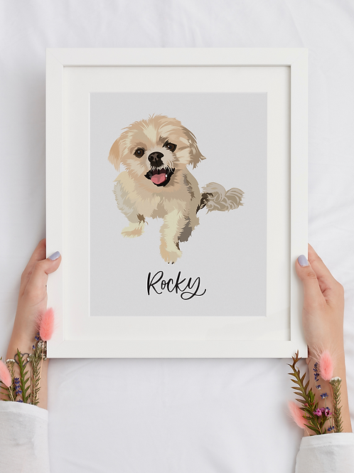 Custom Pet Portrait | Valentines Day Gift | Pet Photo from Illustration
