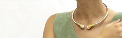Gold and silver fresh water pearl choker necklace