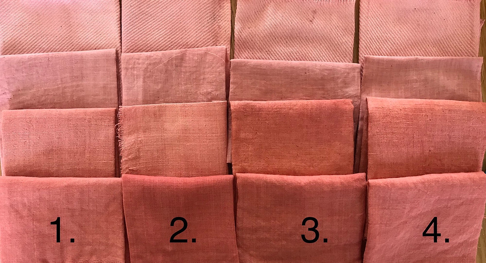 Madder dyed samples with different mordants
