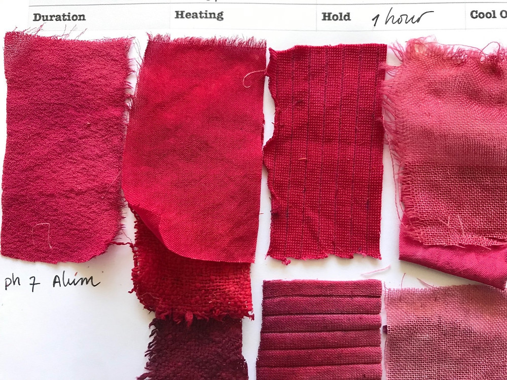 Reds from sappan wood also known as brazil wood. Dye samples by Suzanne Dekel