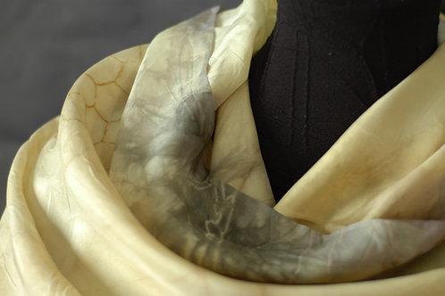 Cassia fistula ecoprint on buttery yellow silk