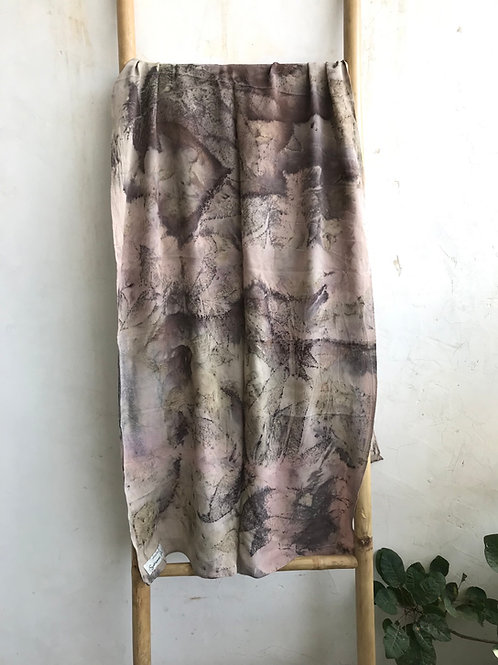 Crepe silk with pecan leaves and a hint of pink