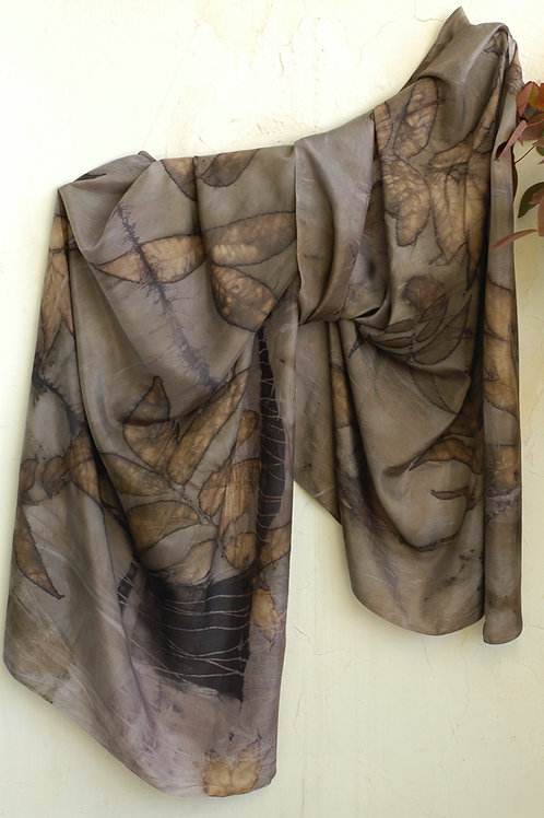 eco printed silk with pecan leaves