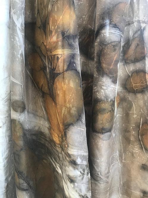 Xl eucalyptus on latte colored silk