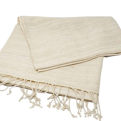 handwoven handspun eri silk scarf