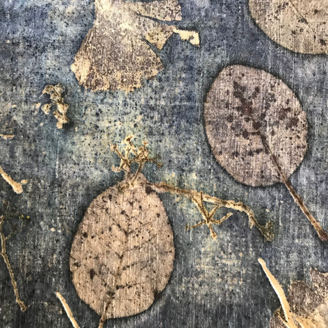eco printing on vintage linen