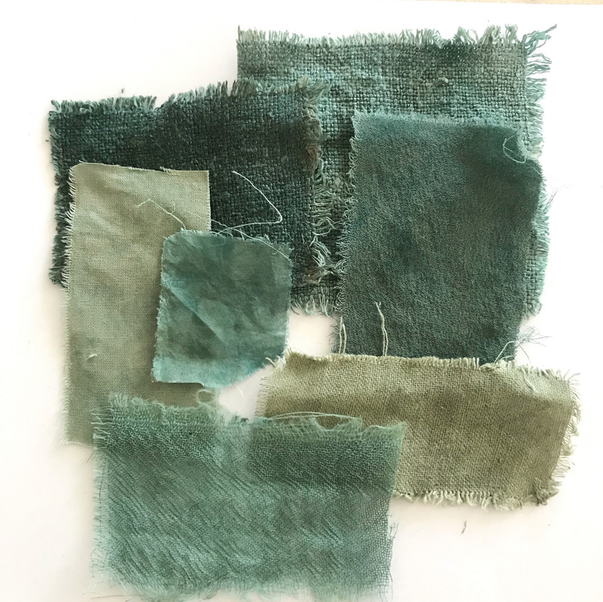 Different fabrics (protein and cellulose) with the Low Impact method using Green Indigo
