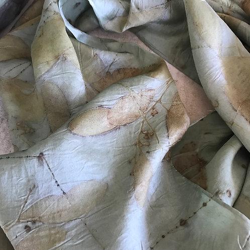 'Aqua' silk,Hand-Hemmed Crepe de Chine