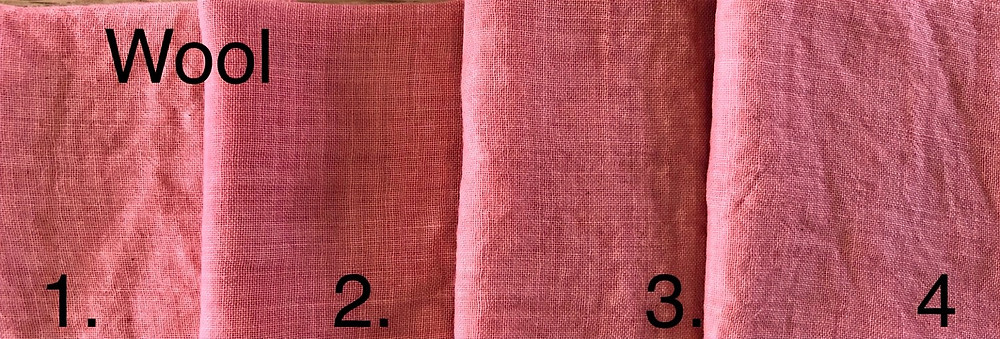wool samples dyed with natural madder on different mordants