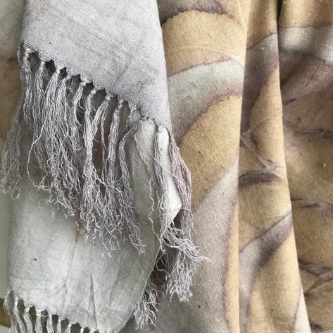 Pecan eco print on handwoven silk