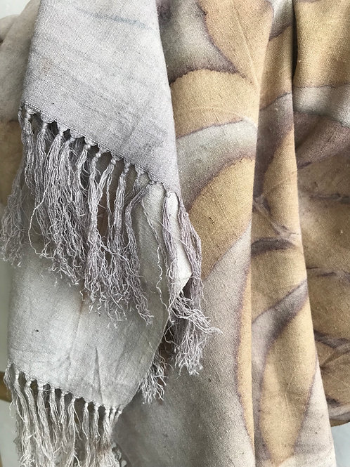 Handwoven peace silk scarf printed with Pecan Leaves
