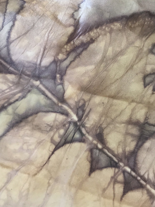 Pecan leaves on smooth woven silk