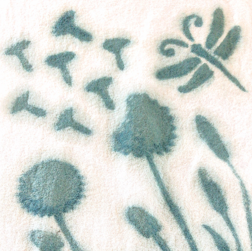 Low Impact dye paste with stencils on silk crepe.