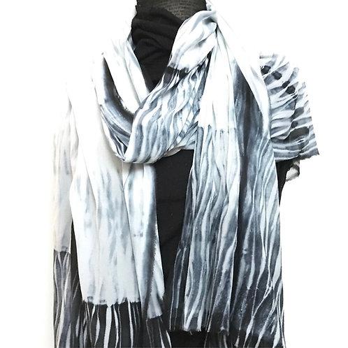 Medium size silk scarf with black shibori technique