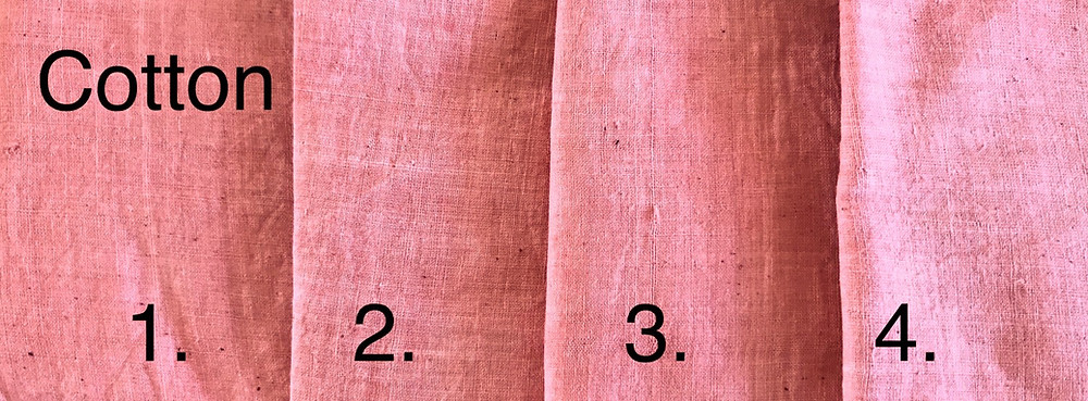 Cotton samples mordanted differently with madder dye