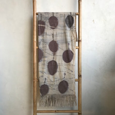 cotinus on handwoven silk