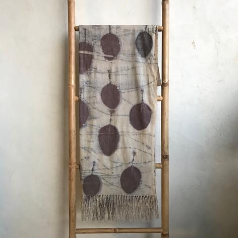 cotinus on handwoven silk