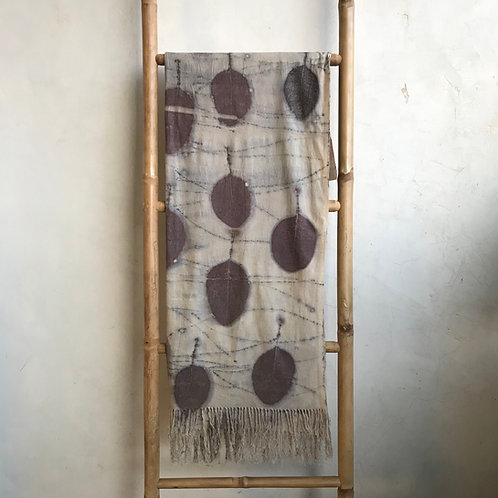 Handwoven peace silk scarf with cotinus leaves