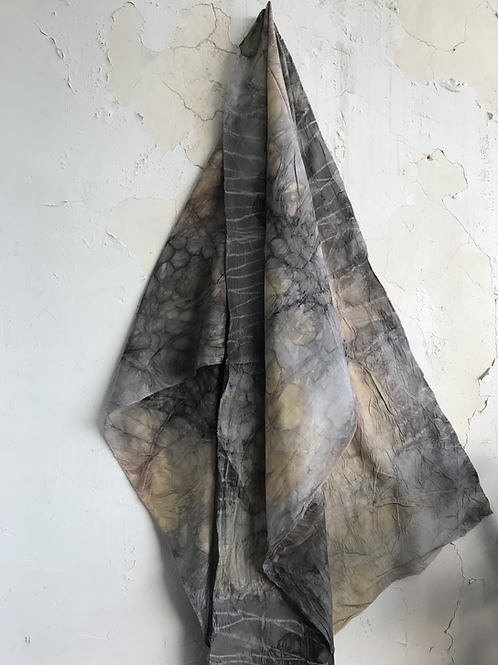 No 52. Silk scarf with eucalyptus and rust